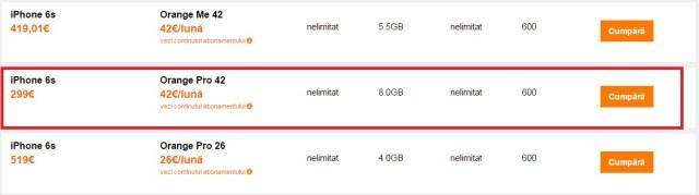 5qerwfsa iPhone 6s 16 GB gratuit la Orange prin portare
