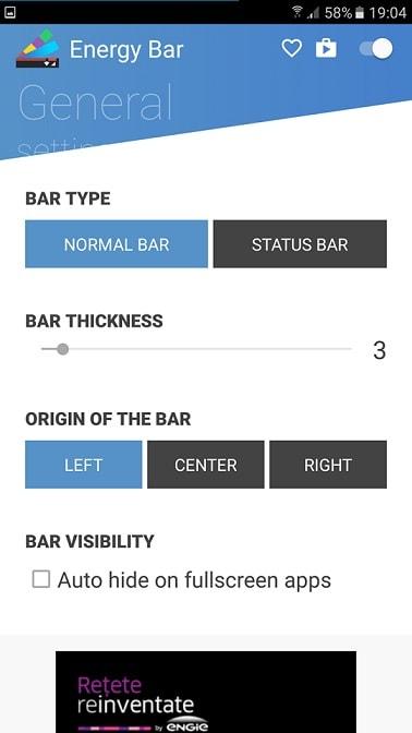 Aplicatia Android Energy Bar widget interesant pentru baterie