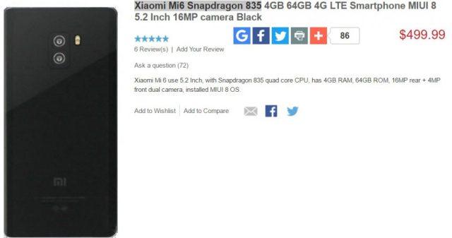 Xiaomi Mi6 Xiaomi Mi6 cu Snapdragon 835, pret in oferta magazinului xiaomidevice