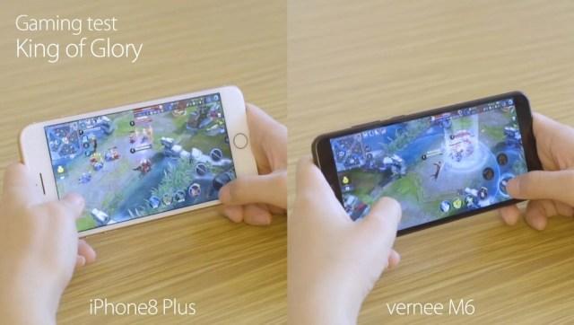 (p) 99.99usd vs 799usd! vernee m6 vs iphone 8 plus