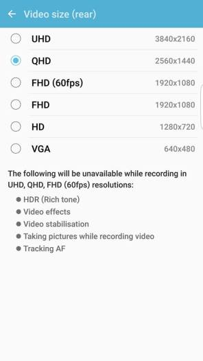 Samsung Galaxy S7 Edge Camera App settings