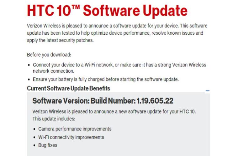 Download Verizon HTC 10 1.19.605.22 OTA and RUU Firmware Update Camera and Bug Fixes