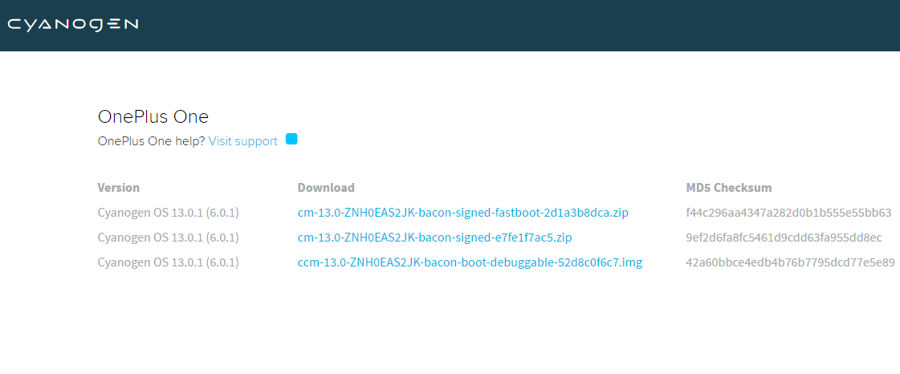 Official Cyanogen OS 13.0.1 ZNH0EAS2JK Fastboot Images For OnePlus One Download and Install