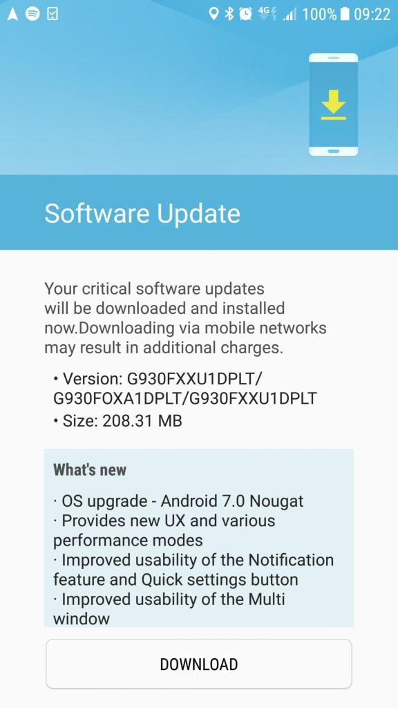 Download Samsung Galaxy S7 Edge Android 7.0 Nougat G930FXXU1ZPLN