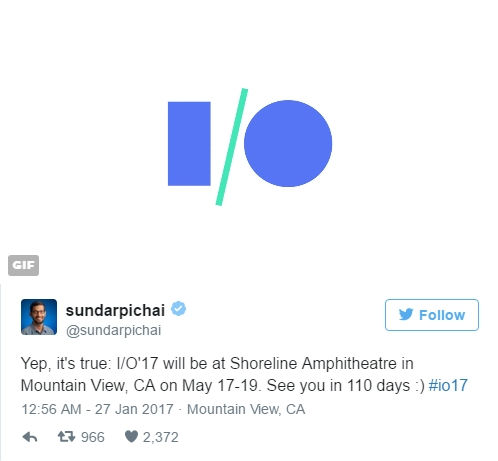 Google IO 2017 to take place on May 17-19