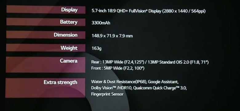 MWC 2017 LG G6 specifications