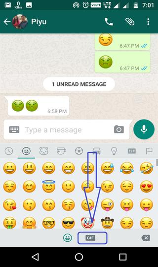 where to find GIFs in whatsapp