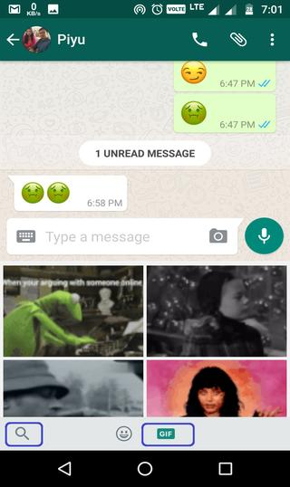 how to send GIF in wahtsapp