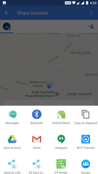 Google Maps real-time location sharing