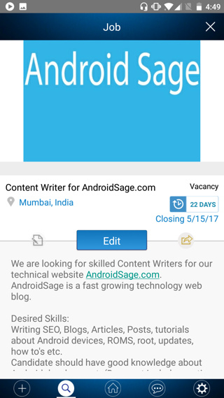 Androidsage business profile on workapp