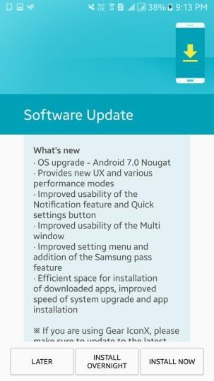 Samsung galaxy a7-2016-nougat-update