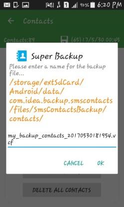 name the backup file