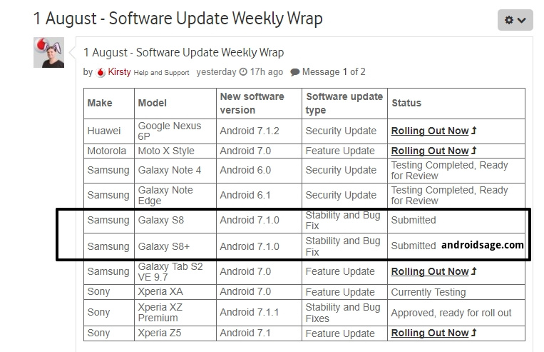 1 August - Software Update Weekly Wrap - Vodafone Community - Samsung Galaxy S8 (Plus) Android 7.1.1 Nougat