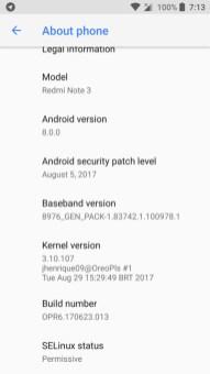 AOSP 8.0 Oreo ROM port for Redmi note 3 Screenshot_20170829-191352