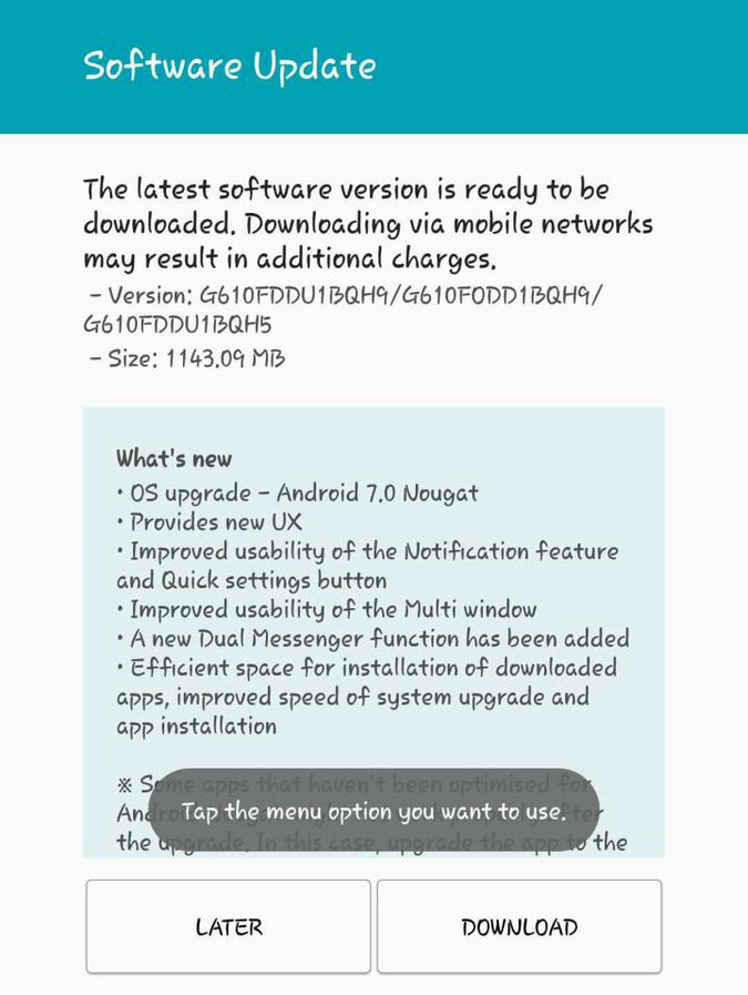 Nougat 7.0 update for Galaxy J7 Prime