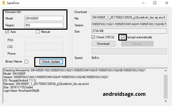 download Odin flashable TAR file for Note 8 all variants SamFirm