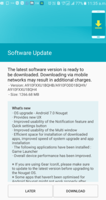 7.0 Nougat update for Galaxy A9 (Pro)