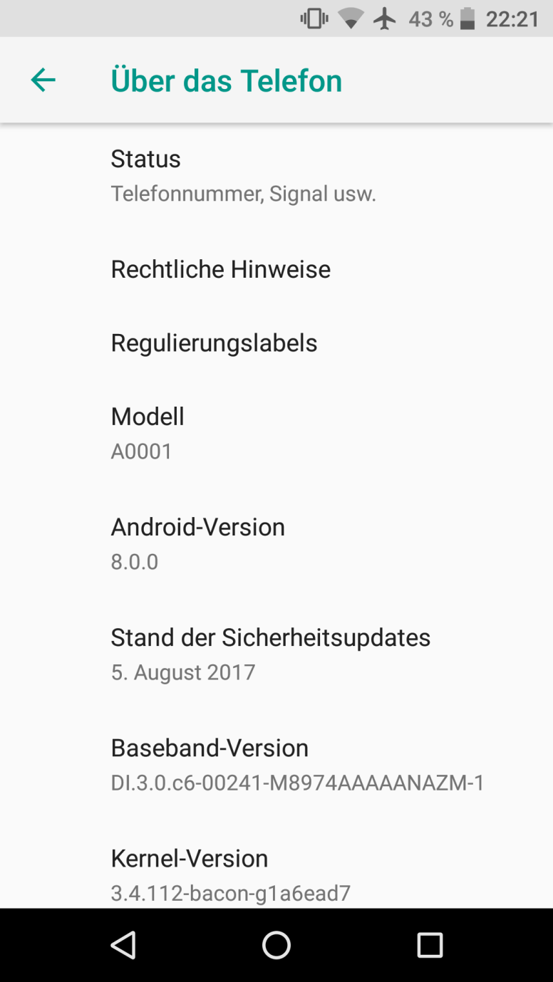 oneplus one Lineage OS 15 Android 8.0 oreo