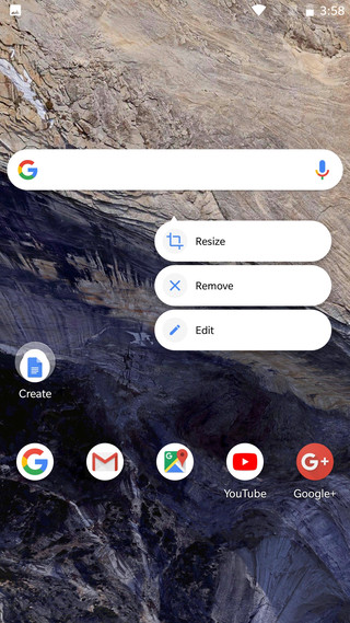Pixel 2 Launcher's new Google Search Widget Screenshot