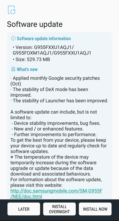 October 2017 Security Patch for Galaxy S8(plus)