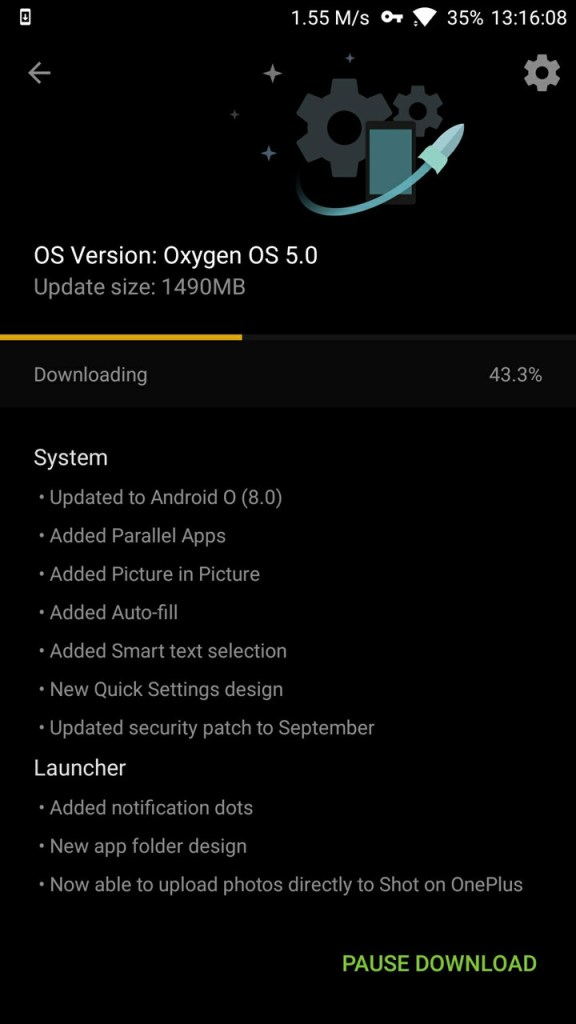 OxygenOS 5.0 for oneplus 3 and 3t OTA downloading