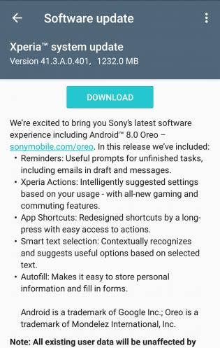 Android 8 Oreo for Xperia XZ/XZs