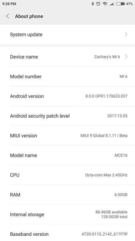 Xiaomi Mi 6 official Android 8.0 Oreo MIUI 9 update