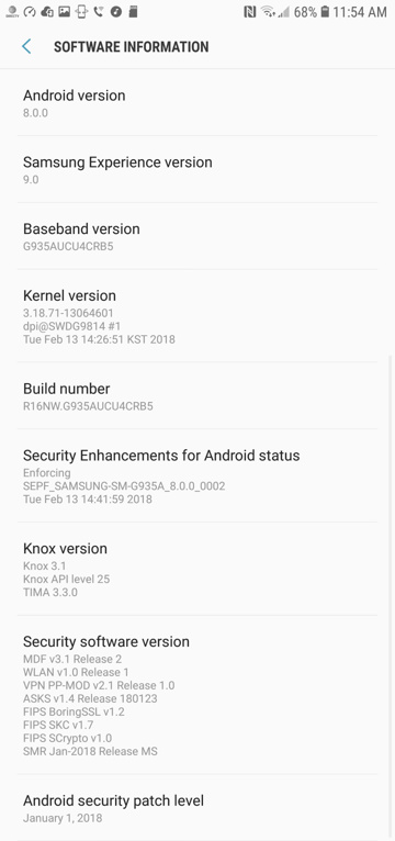 AT&T Galaxy S7 and S7 Edge Android 8.0 Oreo OTA Download screenshot