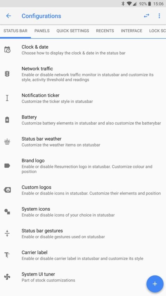 Resurrection Remix v6.0.0 settings screenshot