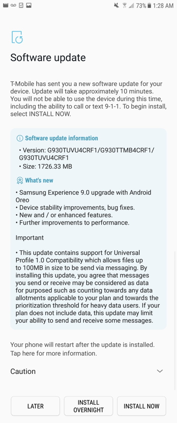 T-Mobile Galaxy S7 and S7 Edge Android 8.0 Oreo OTA update