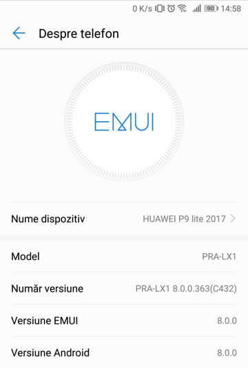 Android 8.0 Oreo EMUI 8.0 Update for P9 lite 2017 (PRA-LX1) in Romania