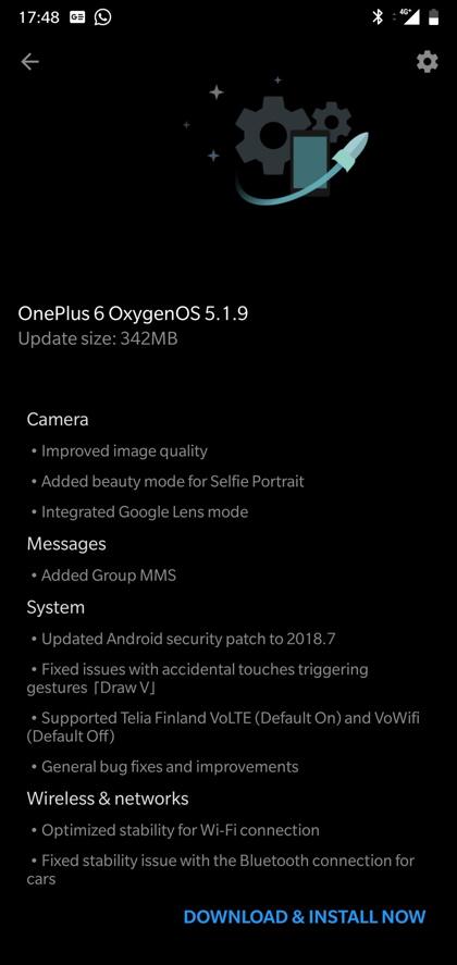 Download Oxygen OS 5.1.9 for OnePlus 6 changelog screenshot