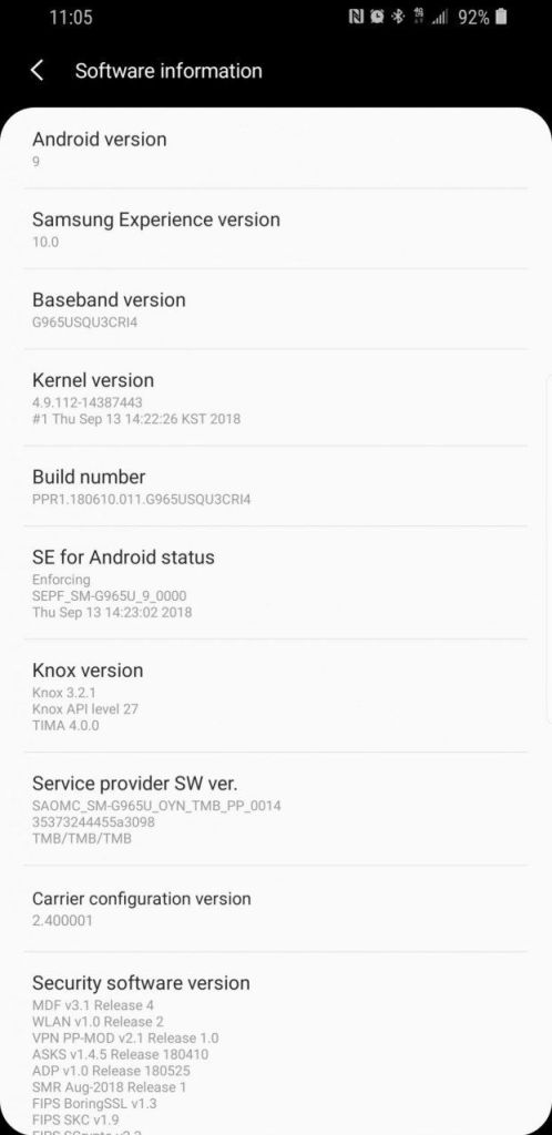 Galaxy S9 (Plus) to Android 9.0 Pie based on Samsung Experience 10