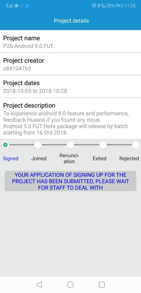 Huawei P20 Pro Android 9.0 Pie Beta EMUI 9