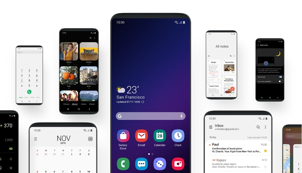 Samsung One UI based on Android 9.0 Pie