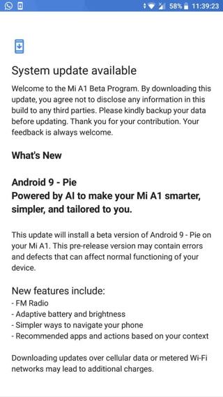 Xiaomi Mi A1 Android 9.0 Pie Beta OTA Update screenshot 1