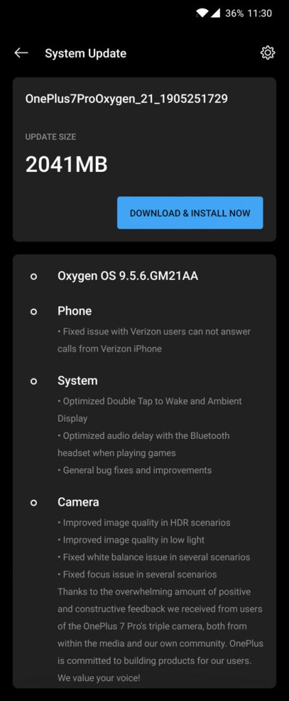 Verizon OnePLus 7 Pro Oxygen OS 9.5.6 OTA update download