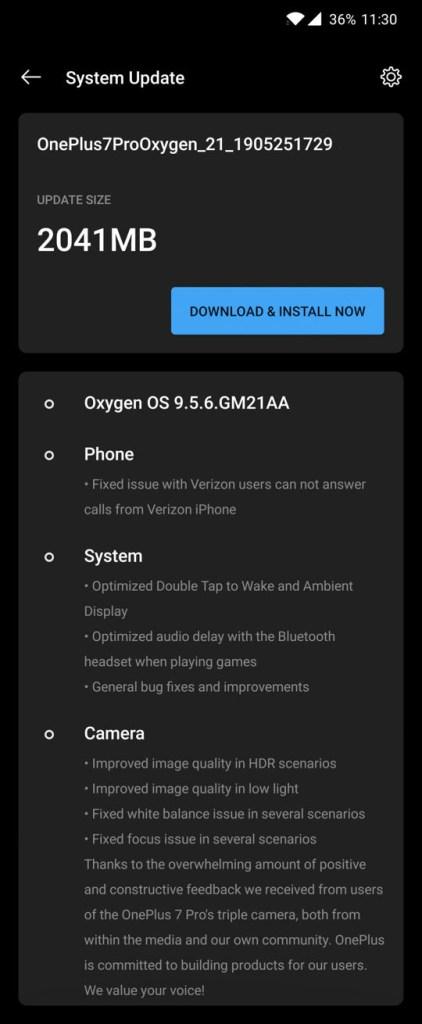 Verizon OnePLus 7 Pro Oxygen OS 9.5.6 OTA update download