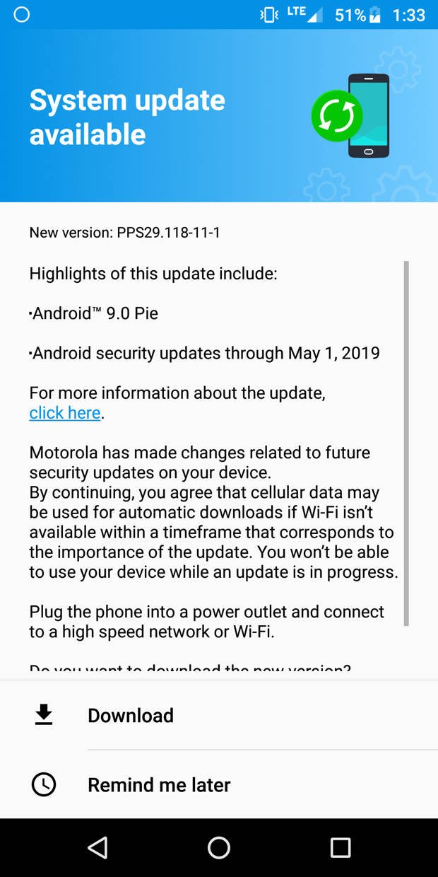 Moto G6 android 9 Pie OTA updates