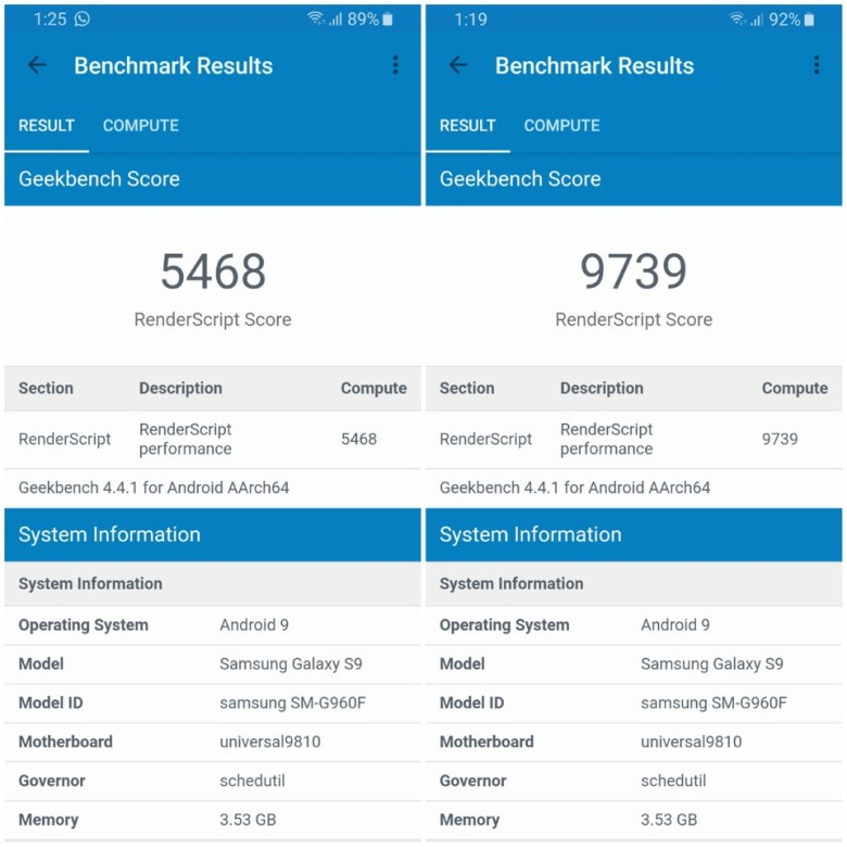 samsung galaxy s9 benchmarks before and after disabling intelligent scan