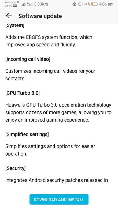 Huawei P20 EMUI 9.1 Andorid 9 Pie changelog