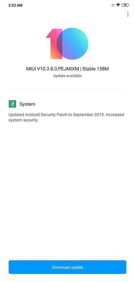 Poco F1 MIUI 10.3.8.0 ota update screenshot