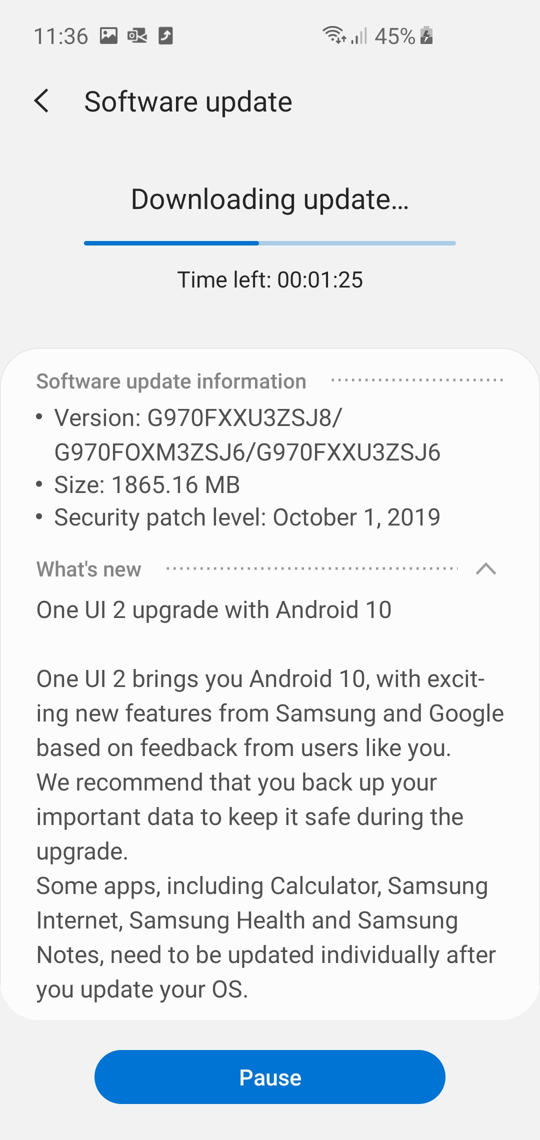 Exynos Galaxy S10e Android 10 based on One UI 2.0 beta