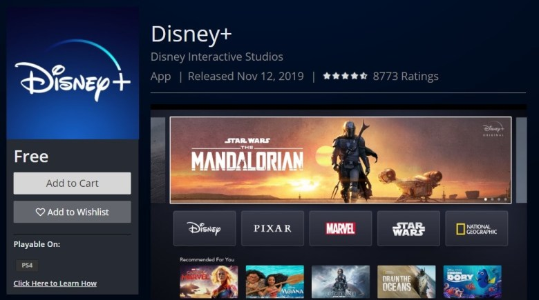 Disney+ on Sony PlayStation 4 PS4 Official PlayStation Store US download-min