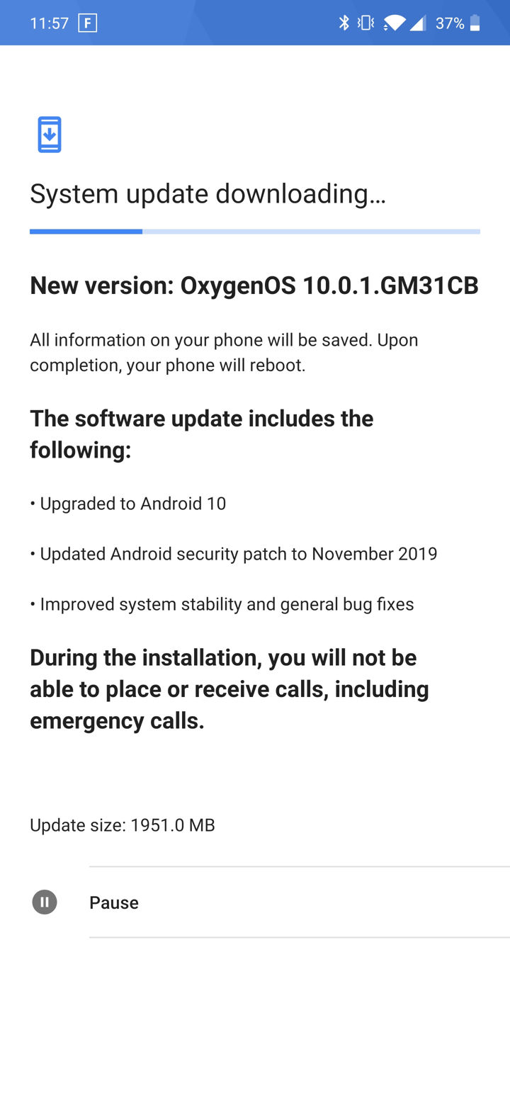 android 10 for T-Mobile OnePlus 7 pro oxygen os 10.0.1