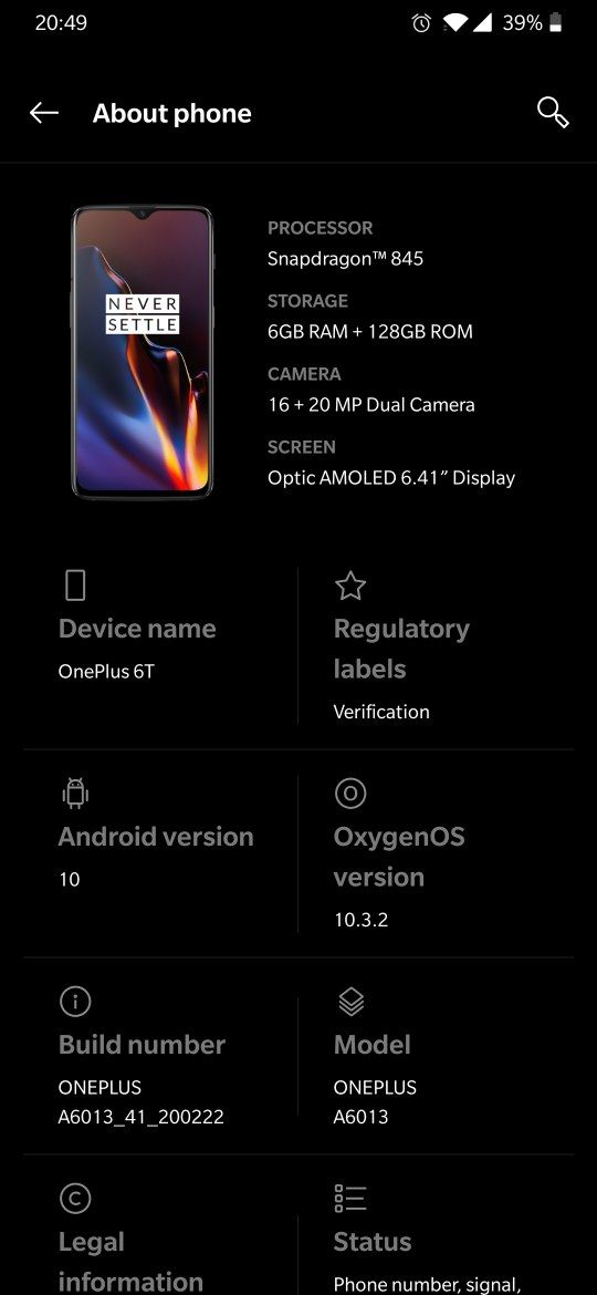 Oxygen Os 10.3.2 for oneplus 6 and 6T