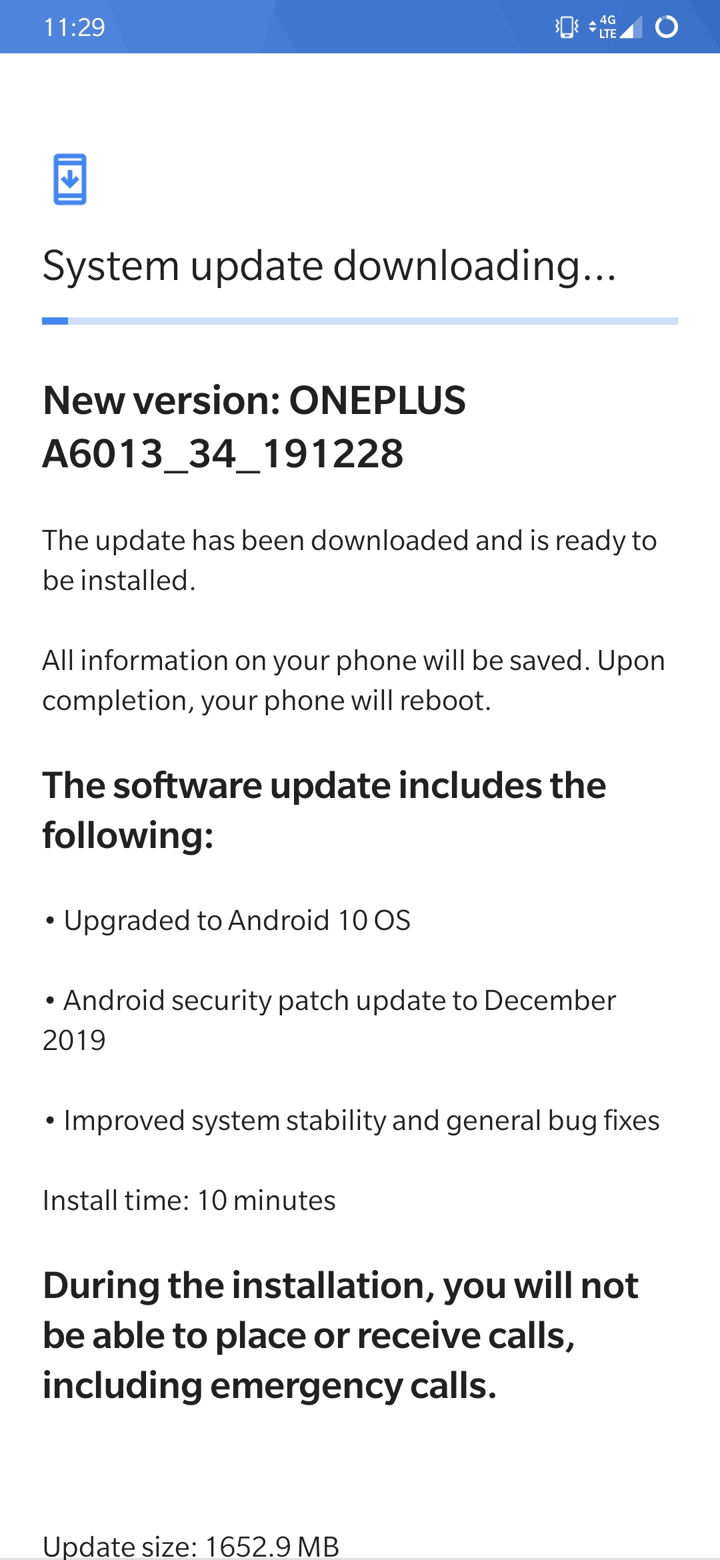 T-Mobile OnePlus 6T gets Android 10 OTA update
