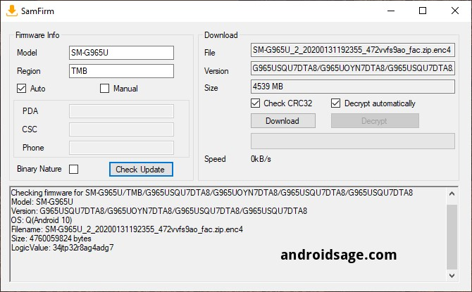 Downloading Android 10 for snapdragon s9 and s9 plus in USA SamFirm Odin flashtool