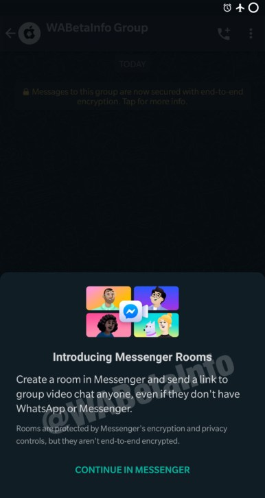 Facebook messenger rooms Whatsapp beta integration 1