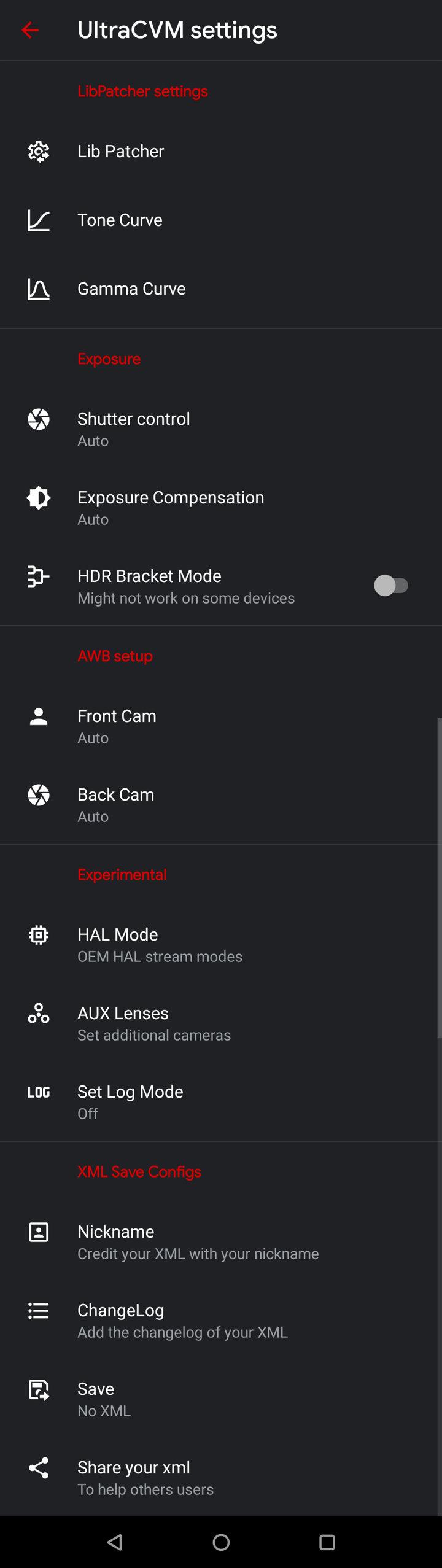 Settings of Ultra CVM Mod